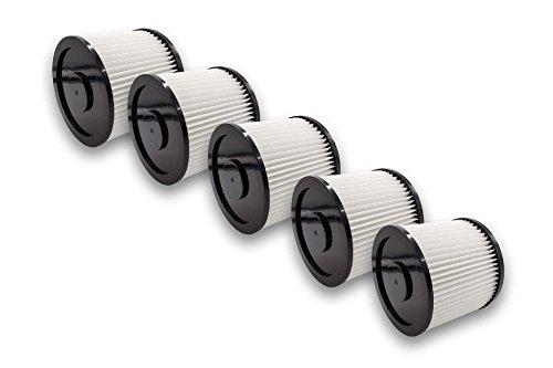 vhbw 5x Filtro compatible con Rotfuchs VCL 1800, VCL 3000 aspiradora filtro de cartucho