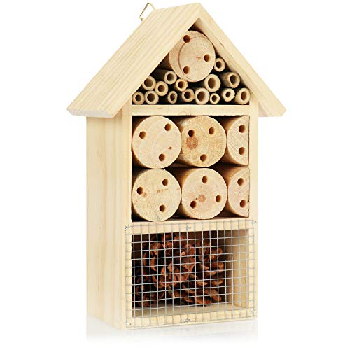 com-four Insect hotel made of wood - Bee hotel for flying insects, ladybirds, butterflies and flies - Insect house to hang (25cm)