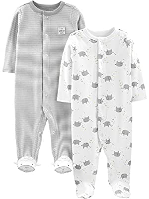 Simple Joys by Carter's Baby Neutral 2-Pack Cotton Footed Sleep and Play, Elephant, 6-9 Months by Carter's Simple Joys -Private Label -Vendor Flex CRI