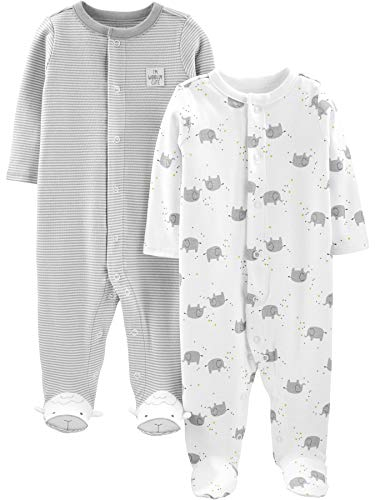 Simple Joys by Carter's Neutral 2-Pack Cotton Footed Sleep and Play Infant Toddler-Sleepers, Elefante, 0 Meses, Pack de 2