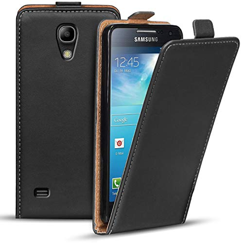 Verco Flip Cover per Samsung Galaxy S4 Mini, Custodia Verticale Flip Case Compatibile con Samsung S4 Mini, Nero