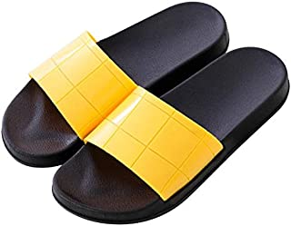 Ladies's Summer Slippers Female Plaid Soft Bottom Slippers Women Indoor Home Non-slip Slippers Plus Size Women's Sandals Simple casual sandals and slippers (Color : Yellow, Shoe Size : 8)