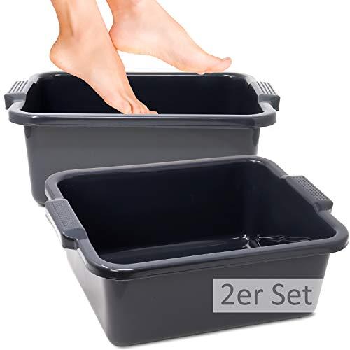 Hausfelder VIELZWECK Wanne aus Kunststoff, einsetzbar als Fussbad Waschbecken Spülschüssel (2er Set (2 x Anthrazit))