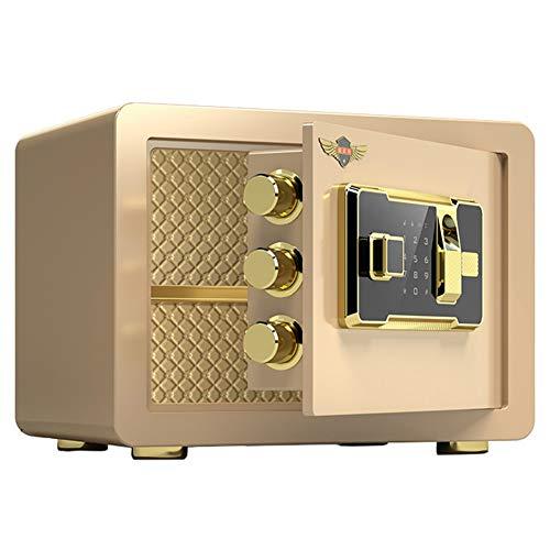 Caja Fuerte Caja de Seguridad con Huella Dactilar biométrica, protección de Joyas y Dinero en Efectivo, Adecuado para Uso en oficinas de dormitorios de Hotel en el hogar (Color : Gold)