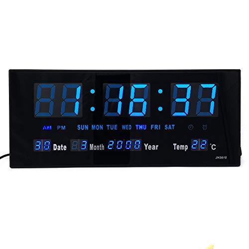 Starlet24 LED Wanduhr mit Timer Wecker Schlummer Kalender Temperatur große LED-Anzeige 36x15cm (JH3615) Blau
