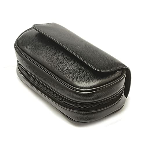 WUQIAO Genuine Leather Smoking Tobacco Pipe Pouch Case Bag, Can Hold 3 Pipe Tobacco and Other Accessories, Hard Magnetic Button and Smooth Zipper, Smooth and Delicate Surface