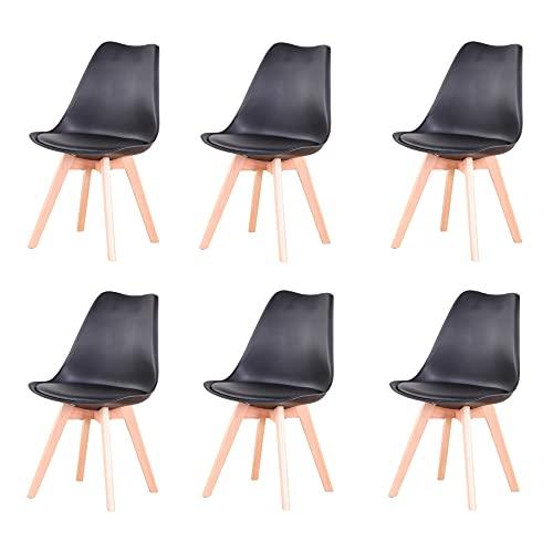 GrandCA Set di 4/6 sedie, sedia da pranzo, sedia in stile nordico, adatta per soggiorno, sala da pranzo (Nero-6)