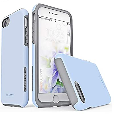 TEAM LUXURY iPhone SE 2020 Case & iPhone 7 Case & iPhone 8 Case, [Clarity Series] Shockproof, Anti-Drop Protection, Phone Case for Apple iPhone 7/8/SE 2nd Generation for Women & Men (Serenity/Gray)