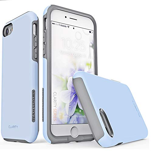 TEAM LUXURY iPhone SE 2020 Case, iPhone 7 Case, iPhone 8 Case, [Clarity Series] Blue Ultra Defender Shock Absorbent Protective Phone Case for Apple iPhone 8/7/SE 2nd Generation 4.7