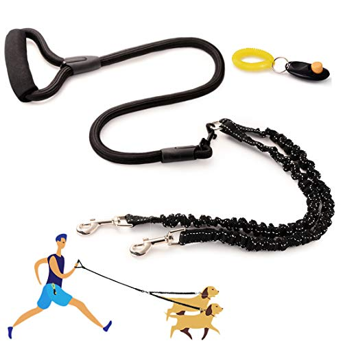WuliC Dual Dog Leash, Double Dog Leash, 360° Swivel No Tangle & Soft Handle Walking Leash for 2 Dogs with Training Clicker