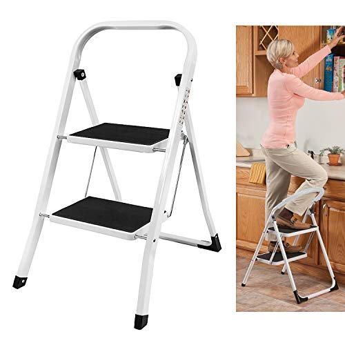 Safety Folding Step Stool | 2 Step Ladder | Portable Foldable Stepladder | Anti Slip Feet, Strong Sturdy Steel, 150KG Max Capacity, Ideal for Home/Kitchen/Garage