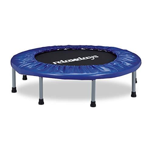 Relaxdays 10020801, Trampolino, Tappeto, Elastico E Pieghevole Unisex – Adulto, Blu, 22 x 95 x 95 cm