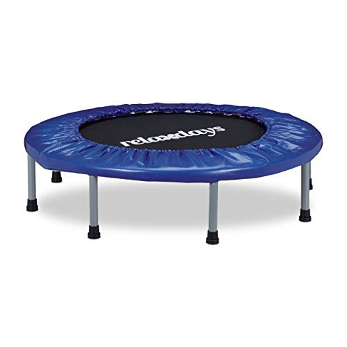 Relaxdays–Trampolín Plegable, Indoor, Fitness H x B x T: 22x 95x 95cm, Carga máxima 100kg, Color Azul y Negro
