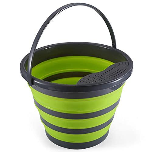 Henreal Cubo plegable para fregadero con tablero de drenaje y mango multiusos plegable para lavar el recipiente de agua para acampar al aire libre senderismo
