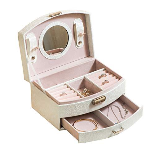 LaoZan Bracciali Orecchini Portagioie Cassetti Donna Regalo Decorazione della Toletta Scatola per Gioielli (Bianco, 20 * 16 * 10 cm)