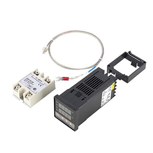 TOPINCN Regolatore di Temperatura PID Intelligente Digitale REX-C100 + relè a Stato Solido 40A + termocoppia K K Impostato da 0 a 400 ℃ AC100-240V