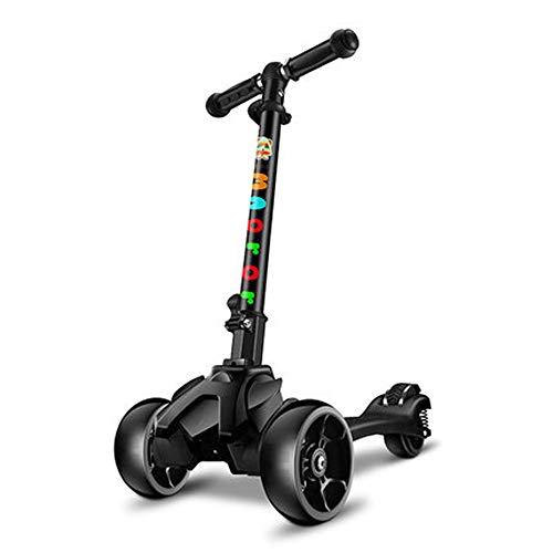 Giow Scooter para Niños, Frenos De Pedal, Flash En Las Cuatro Ruedas, Diseño De Rueda Ancha, Cómodo Y Estable,Black
