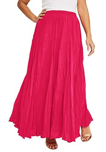 Jessica London Women's Plus Size Flowing Crinkled Skirt Elastic Waist 100% Cotton - 24, Pink Burst