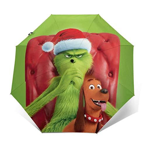 Grinch paraguas portátil de tres pliegues paraguas impermeable anti-UV viento durable paraguas automático para unisex