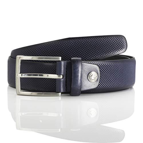 LINDENMANN Herren Ledergürtel/Herren Gürtel, Vollrindleder, dunkelblau, Größe/Size:120, Farbe/Color:blau