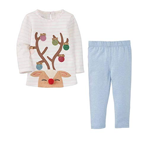 Mud Pie Baby Girls' Reindeer Tunic and Legging, Pink, 5T