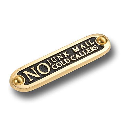 The Metal Foundry Plaque de porte en métal avec inscription « No Junk Mail No Cold Callers » - Style traditionnel - Accessoire de décoration d'intérieur - En laiton - Fabriquée à la main en Angleterre