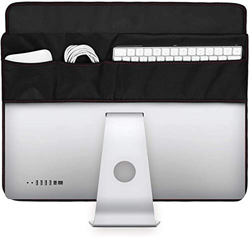 """TXEsign PU Leather Protective Screen Dust Cover Sleeve with rear pocket Compatible with IMAC A1224 / A1311 / A1418 (21.5"""" with pocket, Black PU Leather)"""