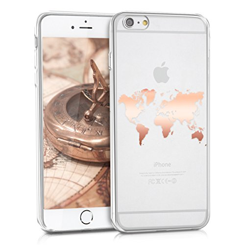 kwmobile Hülle kompatibel mit Apple iPhone 6 Plus / 6S Plus - Handyhülle - Handy Case Travel Umriss Rosegold Transparent