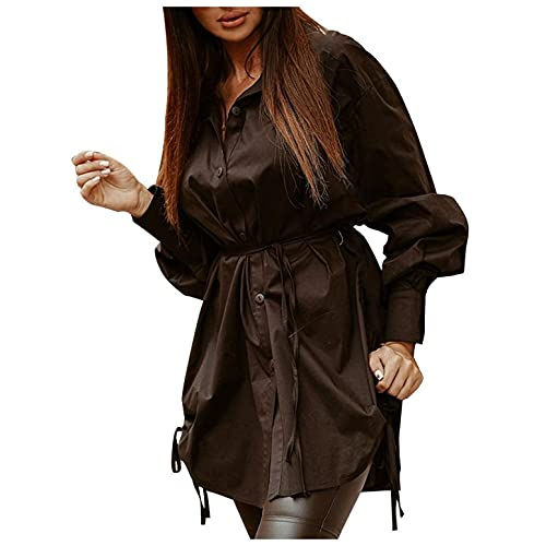 Camisa de mujer de longitud media a la moda, informal, de un solo color, con mangas, escote en V, con correas elásticas, para trabajar., Negro , L