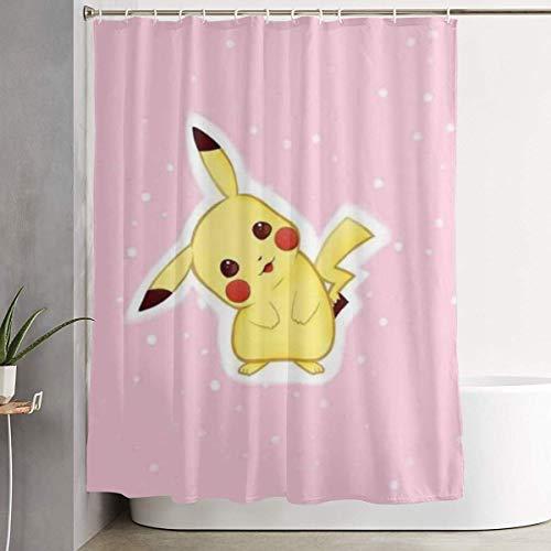 Sabalone Duschvorhang Pikachu Kunstdruck, Polyester Bad Dekorationen Kollektion mit Haken 60X72 Zoll