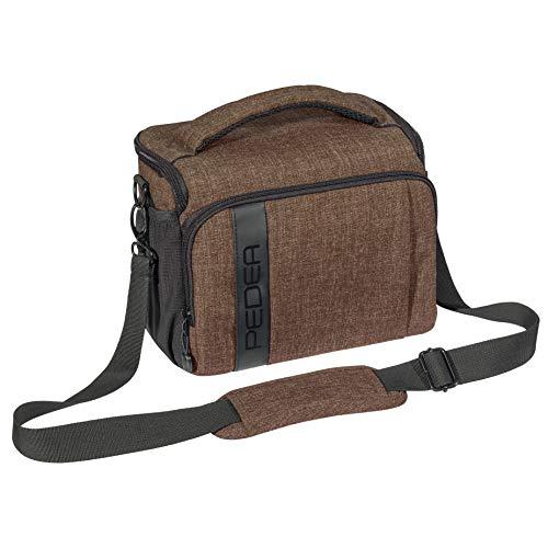 PEDEA DSLR borsa per fotocamera 'Fashion' Borsa per fotocamera per macchine fotografiche reflex con protezione antipioggia impermeabile, tracolla e scomparti per accessori, misura XL marrone