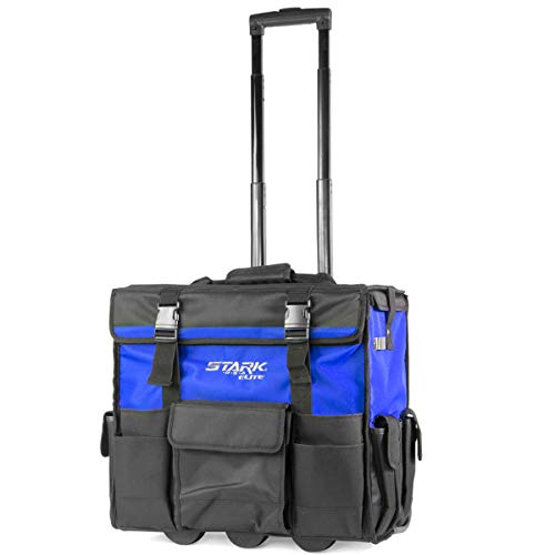 """Stark 20"""" Rolling Wide Mouth Tool Bag Tote Telescoping Handle Tool Organizer Heavy Duty with Wheel and Divider, Blue"""