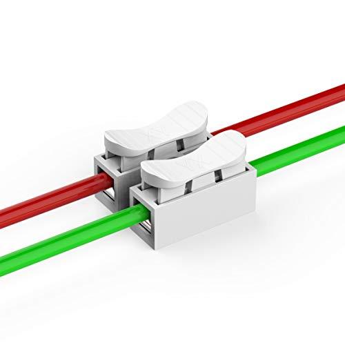 100 Stück Schnelle Kabel zum Verbinden, 2-pin Schnellverbinder Kabel Lüsterklemme,CH-2 Schnellverbinder Lüsterklemmen/Verbindungsklemmen/Drahtklemmen Kabel Verbindungsklemme