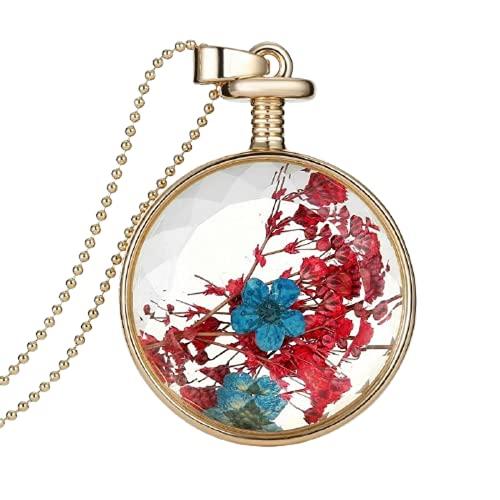 Hermoso collar con colgante de cristal de flores Driedj collar largo de cadena de cuentas de oro para las mujeres joyería fina mejor regalo