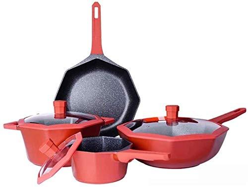 TYUIOYHZX Conjunto de utensilios de cocina de cocina, woks octagonales nórdicos y stead-fry sartenes de utensilios de cocina conjuntos de ollas y sartenes, conjunto de utensilios de utensilios de uten