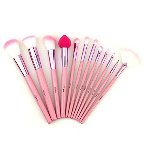 Glow Pink Ensemble de pinceaux de maquillageEnsemble de -12 pièces pour le maquillage du visage et des yeux - Kit de pinceaux polyvalents avec pochette - cosmétique pratique - Couleur rose