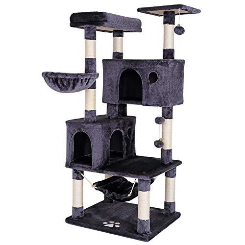 dibea Tiragraffi per gatto albero tiragraffi gatto gioco giocattolo gatti Altezza 140 cm Grigio scuro