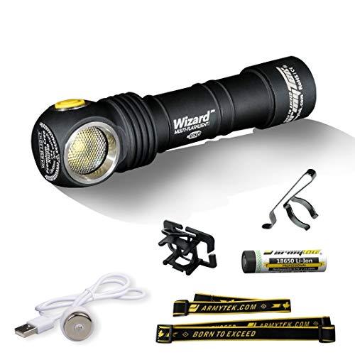 Armytek Wizard XP-L (warm) met magneet en oplaadbaar via USB, 18650 Li-Ion batterij met 3200 mAh, praktische koplamp en robuuste zaklamp in één, bijzonder helder en hoog bereik