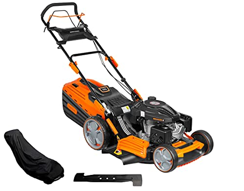PROYAMA 196CC 22INCH 4-in-1 Self-Propelled Gas Powered Lawn Mower with Bagger Side Discharge Mulching Collecting Powered by Loncin Extra Cover and Blade Extreme Heavy Duty Luxury Design