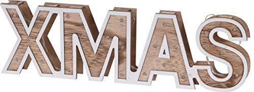 Deko CHICCIE LED Xmas Schriftzug Aus Holz 38cm - Beleuchtete Buchstaben Batterie