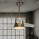 YIWEN Ventilador De Techo Vintage con Iluminación Ventilador De Velocidad del Viento Ajustable Industrial Lámpara Colgante Luz De Techo Interior 18W Dorada