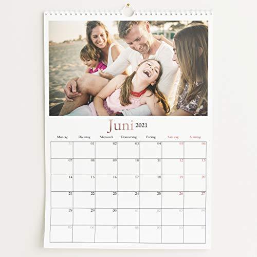 Fotokalender 2021 mit Veredelung in Roségold, Schönes Jahr, Wandkalender mit persönlichen Bildern, Kalender für Digitale Fotos, Spiralbindung, DIN A3 Hochformat