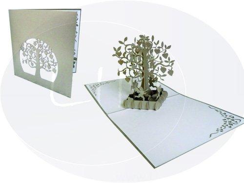 LIN - 3D pop-up kaart; huwelijksjubilea, huwelijkskaart felicitatie, zilveren bruiloft of diamant bruiloft hartboom met Amor (#86)