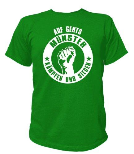 Artdiktat T-Shirt Auf geht´s Münster kämpfen und siegen Unisex, Größe L, grün