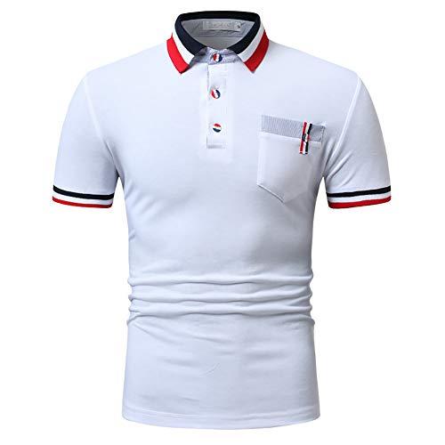 G&Armanis shop Sommer Neue Schlanke Polo-Shirt, Mode Farbe Gewinde Dekorative T-Shirt, Männer Casual Revers Kurzarm,A,XXXL