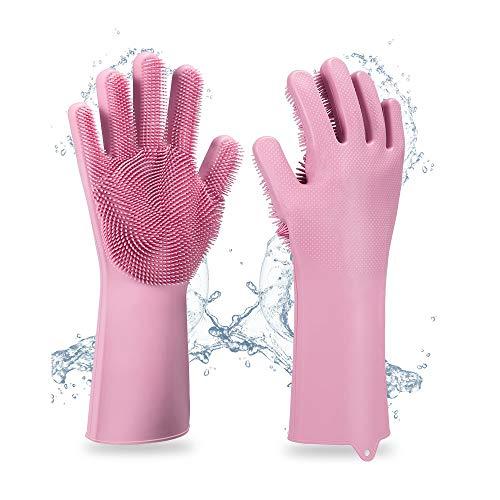 Guante de silicona para fregar platos con Lavador de Lavado,DAYPICKER resistentes al calor Herramienta de cocina para la limpieza, lavado de platos, lavado del automóvil, cuidado del cabello(rosa)