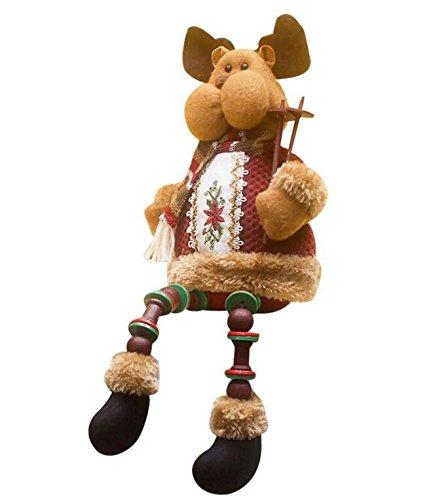 Kingken Fun d'élan Assis poupée en Porcelaine Décorations de Cadeaux de Noël Maison Fête Décoration de Table