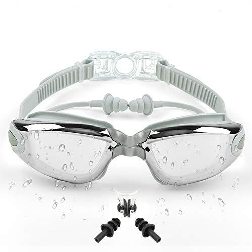 Sportout Gafas de natación, gafas de natación con espejo, sin fugas, protección UV, con clip para la nariz, tapones para los oídos, perfecto para hombres, mujeres, jóvenes y niños mayores (gris)