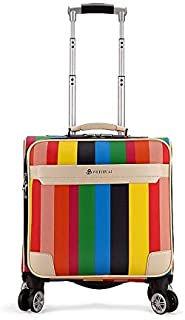 16 Inch PU Leather Trolley Suitcase Female Student Password Box Business Boarding Suitcase Spinner Carry On Travel Luggage (Color : Red)