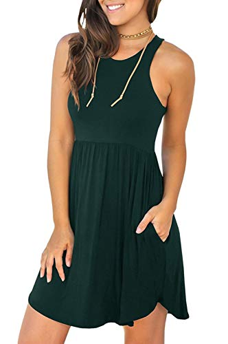 Unbranded Women's Sleeveless Loose Plain Dresses Casual Short Dress with Pockets Dark Green X-Large